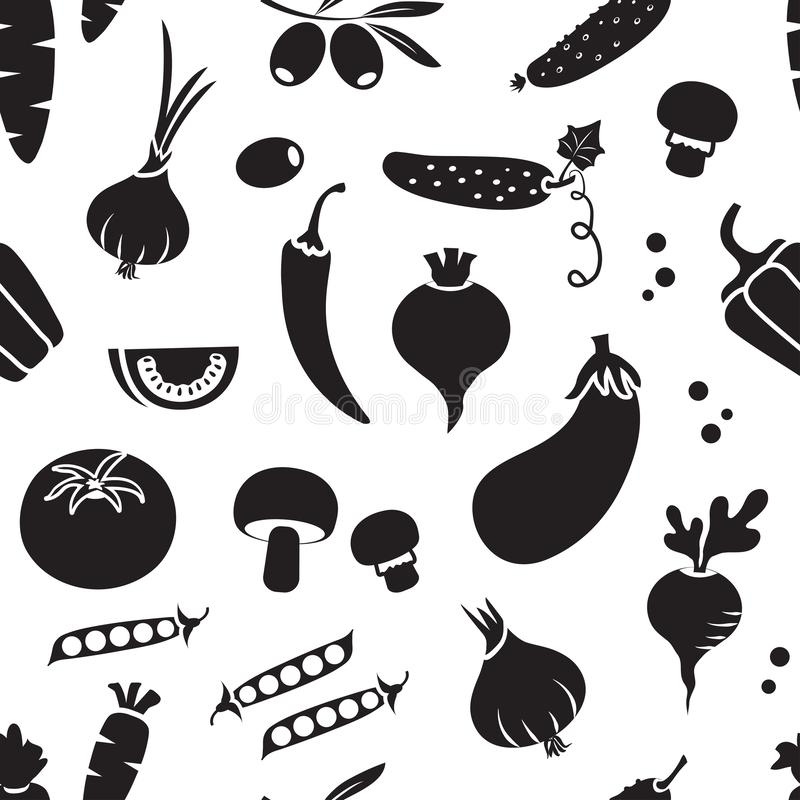 Seamless pattern with different vegetables, black and white design. Vector. Illustration vector illustration
