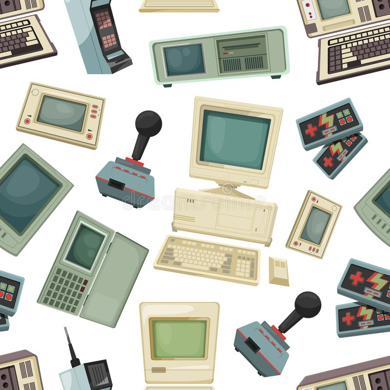 Seamless pattern with different vintage computers and gadgets stock illustration