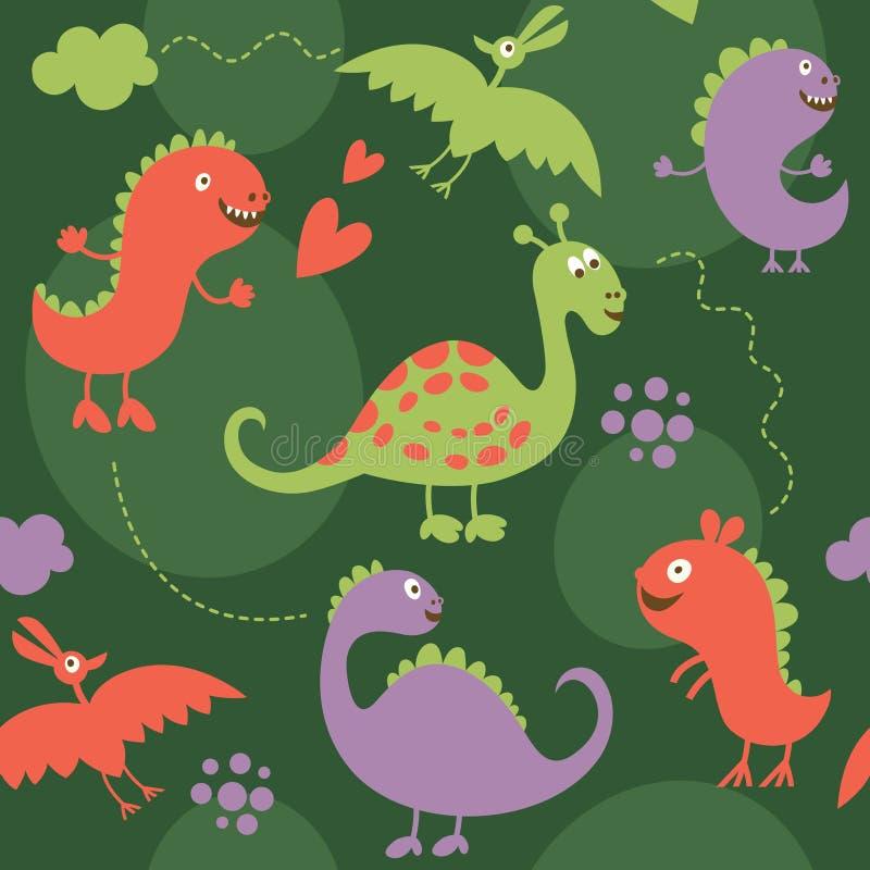 Seamless pattern, dinosaur. Seamless pattern with cute dinosaur vector illustration