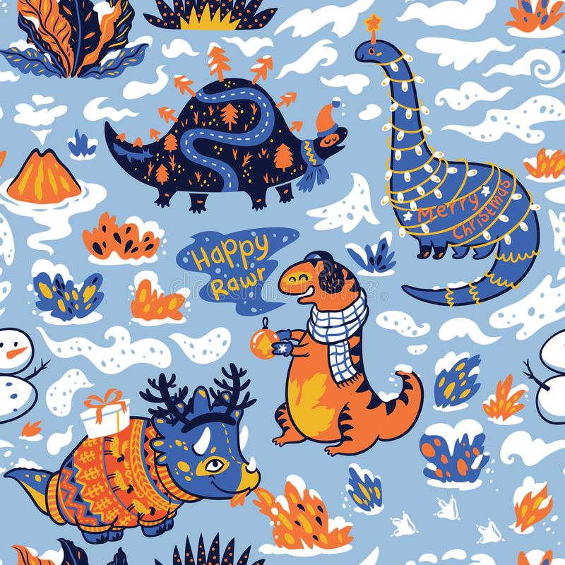 Seamless pattern with dinosaurs with gifts and garland. Creative holidays background. Vector Illustration royalty free illustration