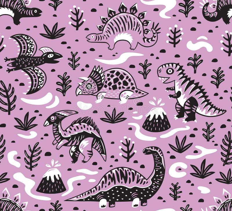 Cute cartoon dinosaurs seamless pattern in white, pink and black colors. Vector illustration vector illustration