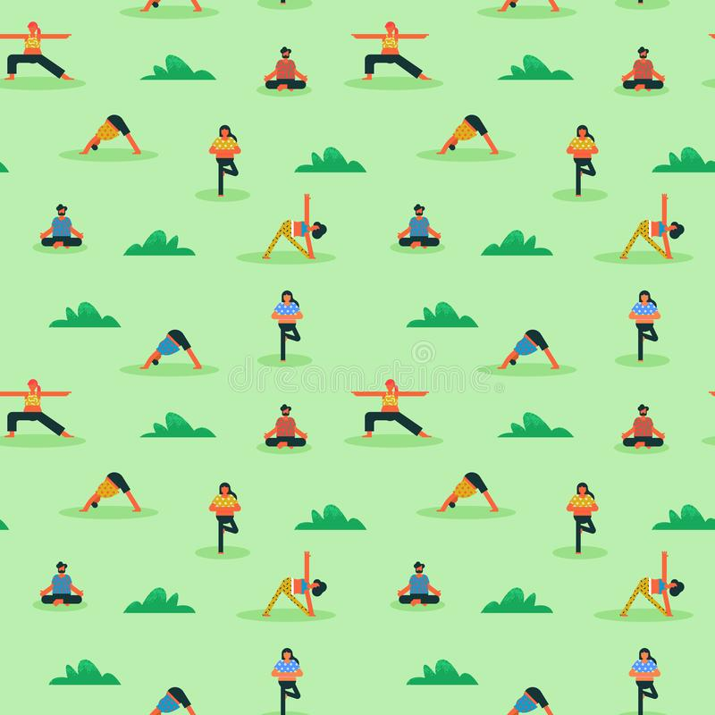 Seamless pattern of diverse people doing yoga stock illustration