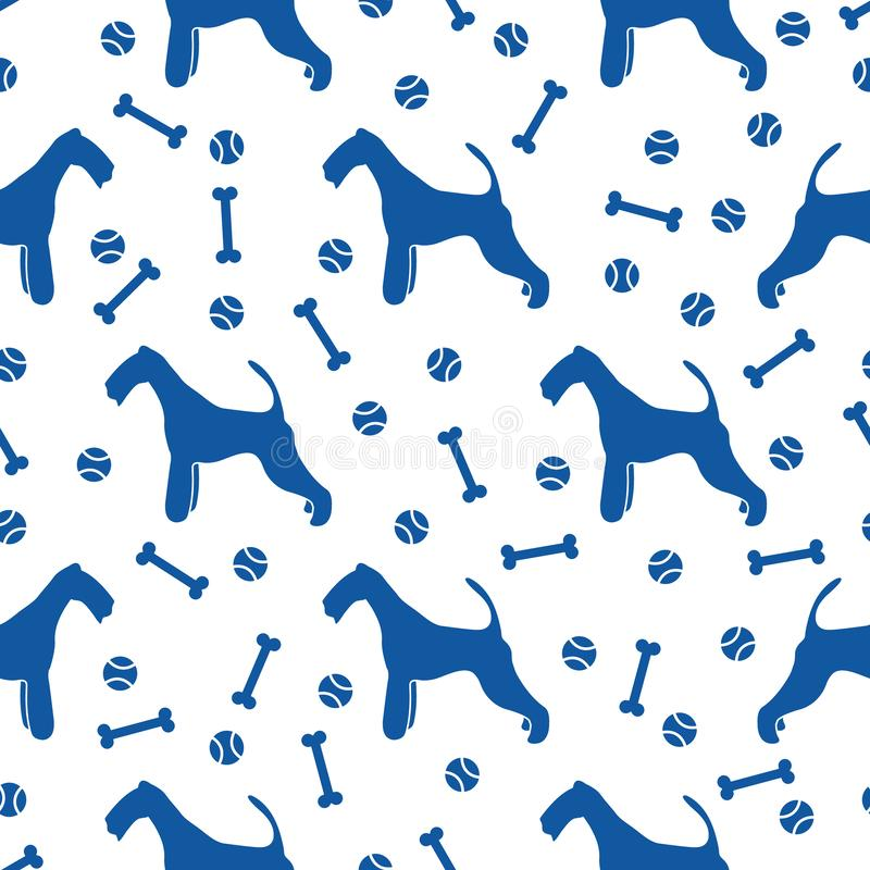 Seamless pattern with dog, bone, tennis ball vector illustration