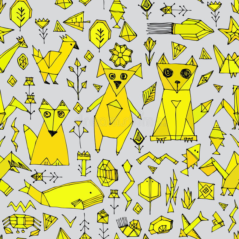 Seamless pattern with Dog cat fox fish birds sea animals and plants, Black outline Mustard yellow on grey background, doodle decor vector illustration