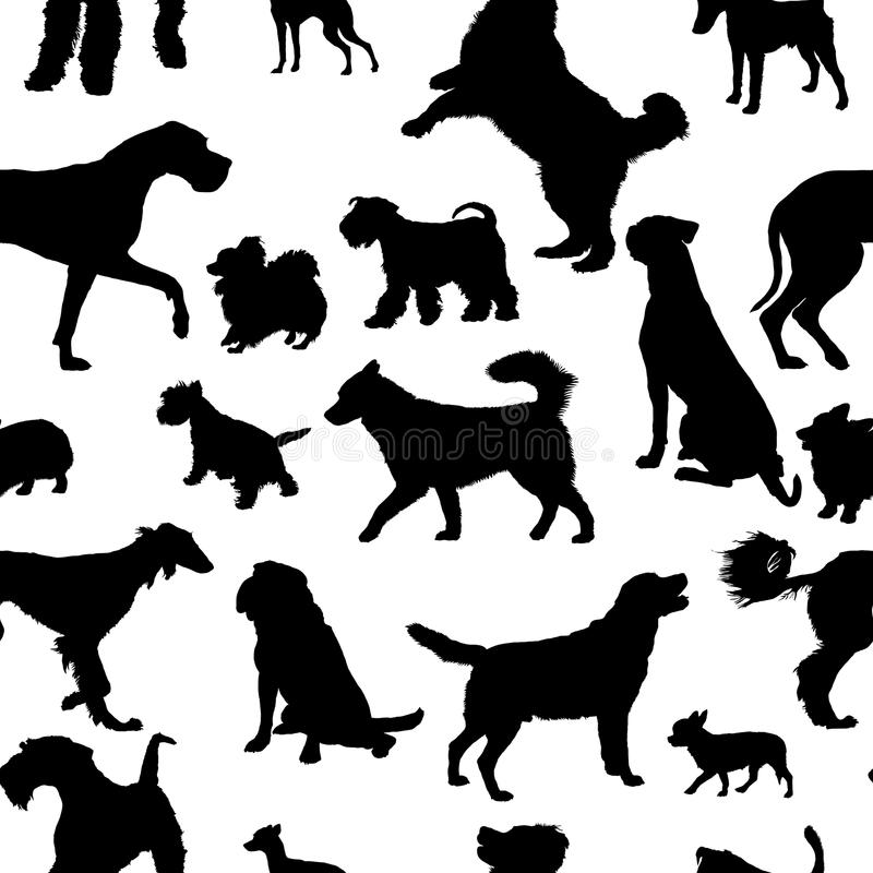 Seamless pattern with dog silhouettes vector illustration