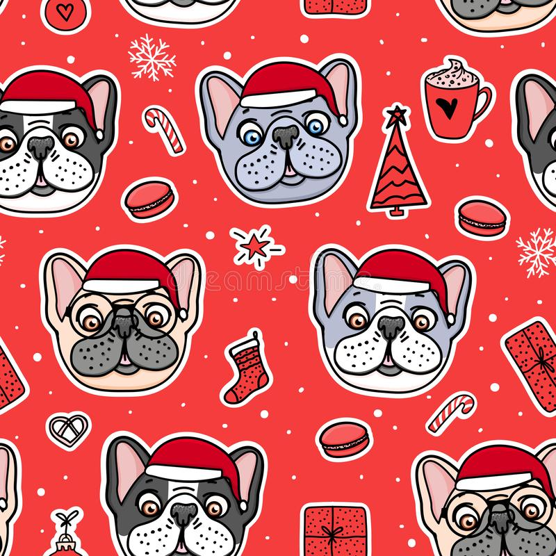 Seamless pattern Dogs in Christmas santa hats. French bulldog cute puppy hand drawn on red. Vector Illustration holiday design. vector illustration