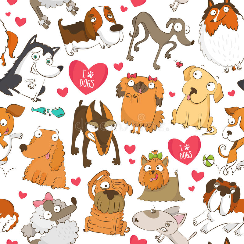 Seamless pattern with dogs and hearts stock illustration