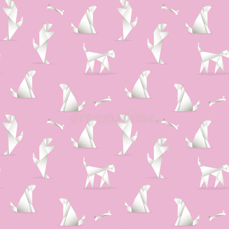 Seamless pattern with dogs, made in the style of origami. royalty free illustration