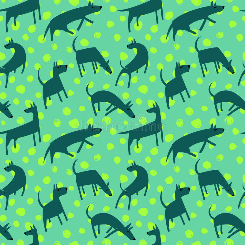 Seamless pattern with dogs. Simple vector style animals. Background with cute pets characters. Vector illustration. Green and blue colors vector illustration
