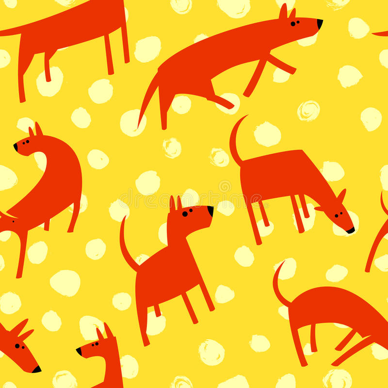 Seamless pattern with dogs. Simple vector style animals. Background with cute pets characters. Vector illustration. Yellow and orange colors stock illustration