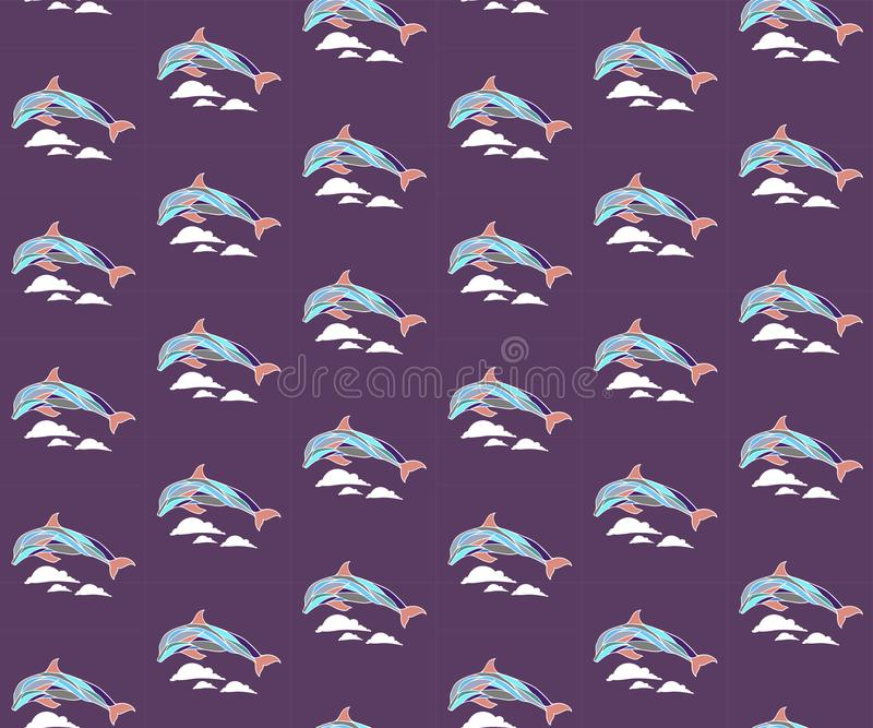 Seamless pattern with dolphins and waves royalty free stock photos