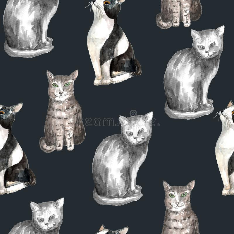Watercolor cat pattern. Seamless pattern with domestic shorthair black and white cats. Watercolor technique. Dark gray background vector illustration