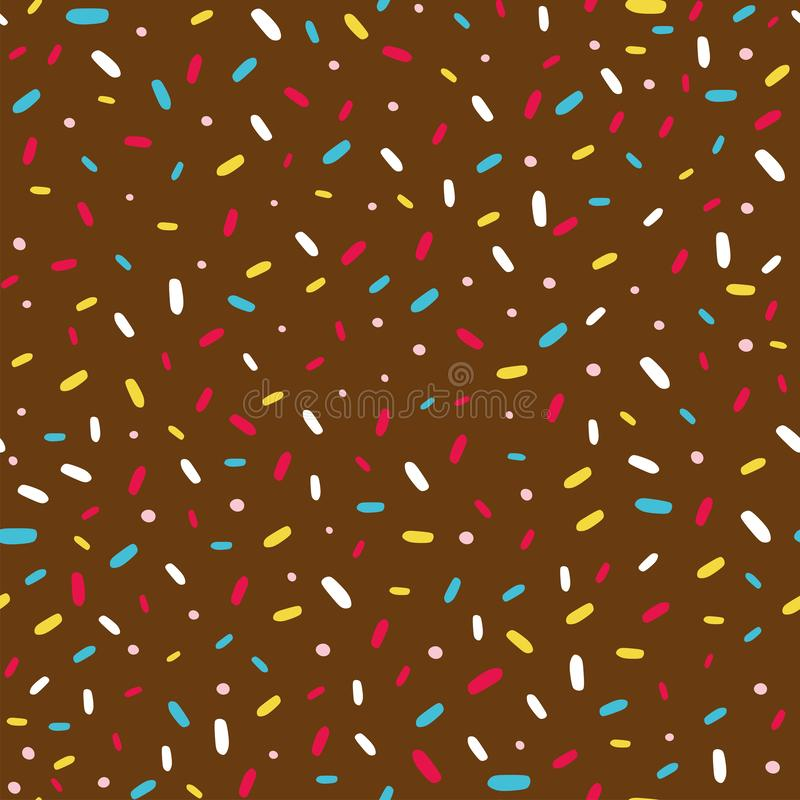 Seamless pattern with donut glaze and sprinkles royalty free illustration