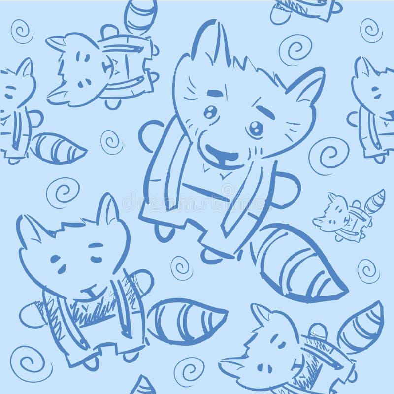 Seamless pattern doodle animal for children stock illustration