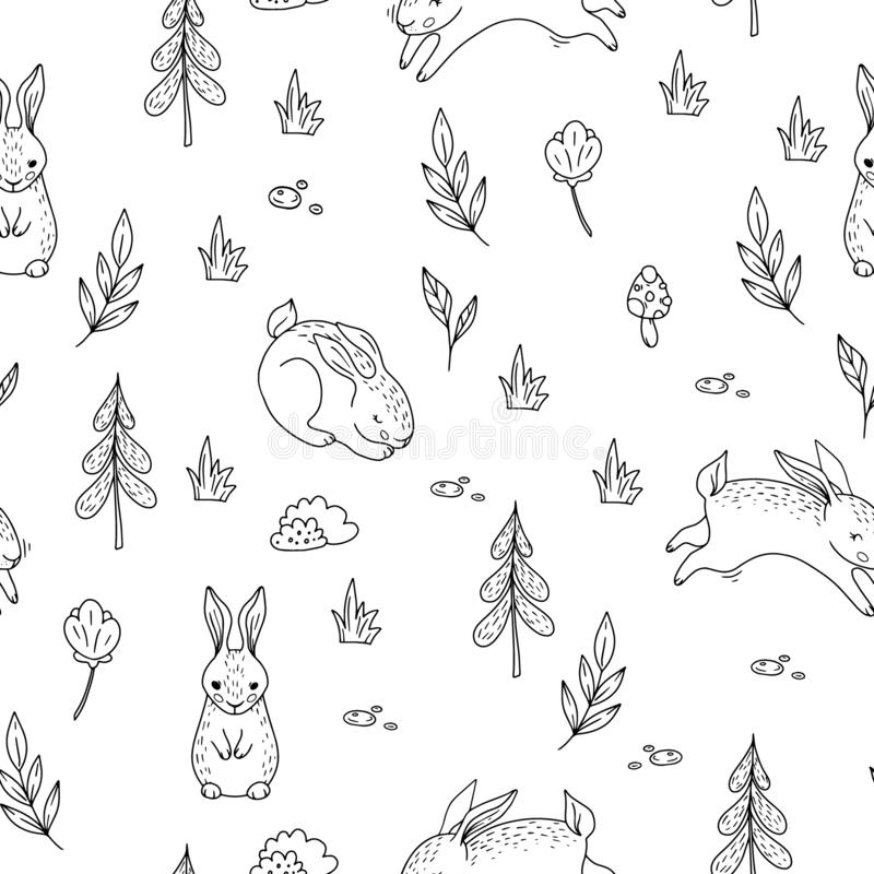 Seamless pattern with doodle bunnies in the forest. Vector background for children vector illustration