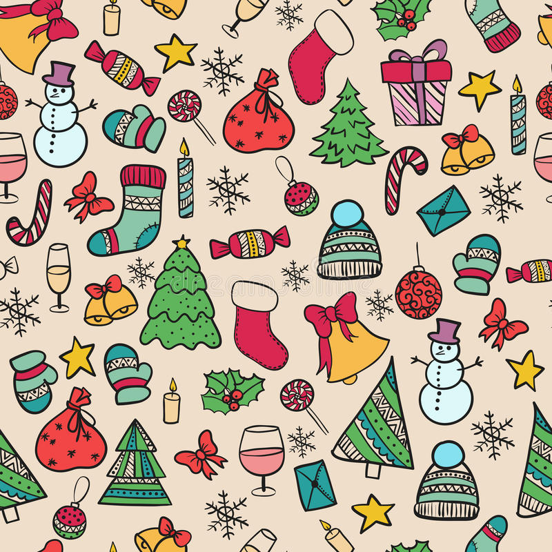 Seamless pattern doodle christmas stock photos