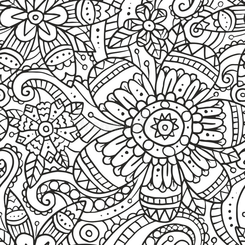 Black Flower And Vines Pattern Royalty Free Stock Image: Seamless Pattern With Doodle Flowers In Black And White