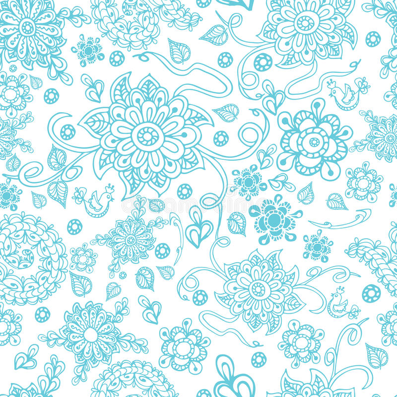 Seamless pattern with doodle flowers. Zentangle. Seamless pattern with doodle flowers in Scuba Blue color. Zentangle. Vector illustration hand drawn illustration vector illustration