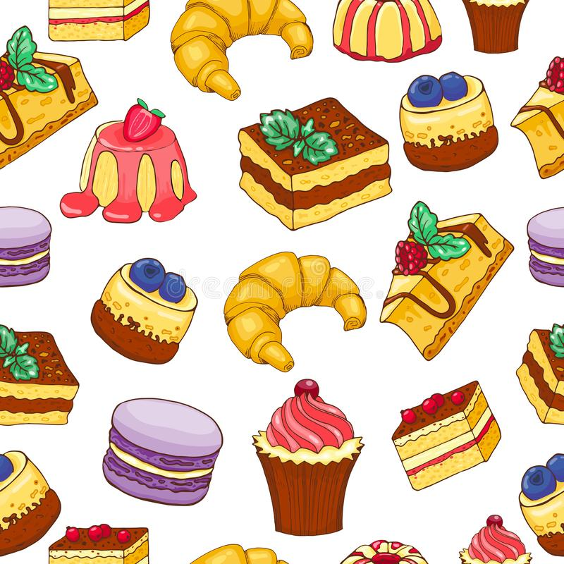 Seamless pattern of doodle hand drawn cakes and desserts. Vector illustration, cartoon style royalty free illustration