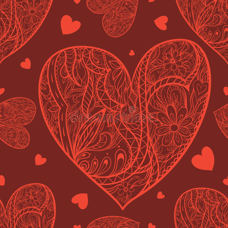 Seamless pattern with doodle heart. royalty free stock photo