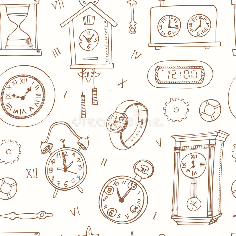 Seamless pattern doodle sketch clocks and watches. Alarm clocks, sand glasses, stop-watch and other symbols of time vector illustration royalty free illustration