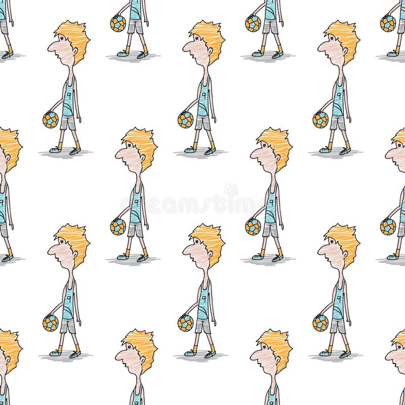 Seamless pattern, Doodle Soccer Player Male cartoon character, hand drawn vector illustration, fabric texture, staff, people. Gift wrapping paper, pastel vector illustration