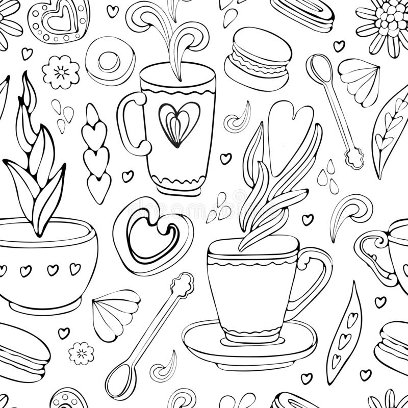 Seamless pattern of Doodle tea and coffee hand drawn in outline. Tea time elements. Cup, mug, spoon, dessert, cookies, souffle,. Sweets, heart. Vintage style royalty free illustration