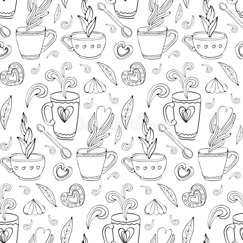 Seamless pattern of Doodle tea and coffee hand drawn in outline. Tea time elements. Cup, mug, spoon, dessert, cookies, souffle,. Sweets, heart. Vintage style stock illustration