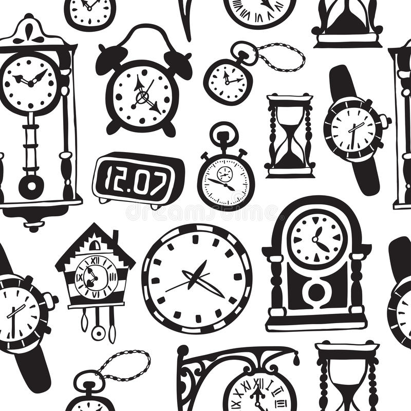 Seamless pattern with doodle watches and clocks. Can be used for textile, website background, book cover, packaging vector illustration