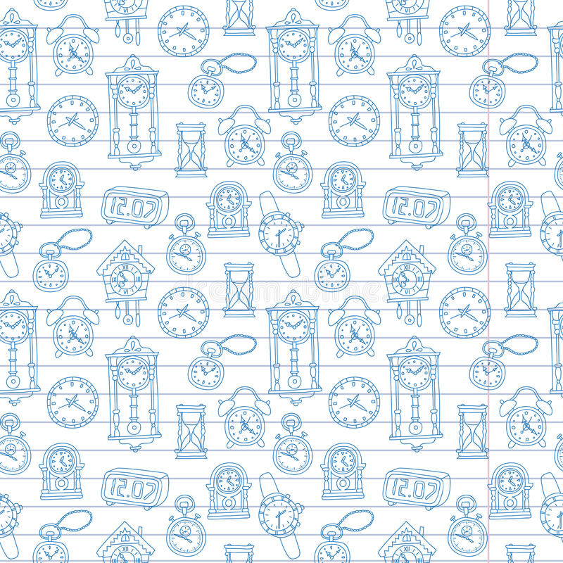 Seamless pattern with doodle watches and clocks are drawn on a notebook in a ruler. Can be used for textile, website background, book cover, packaging stock illustration