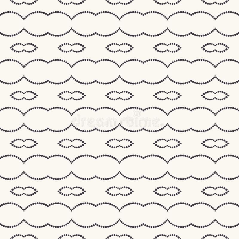 Seamless pattern hand drawn dot stripe background. Geometric curved line allover print. Vector monochrome swatch royalty free illustration