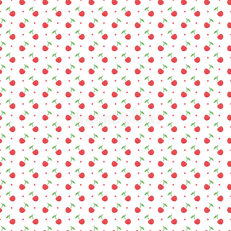 Seamless pattern with dots and cherries stock illustration
