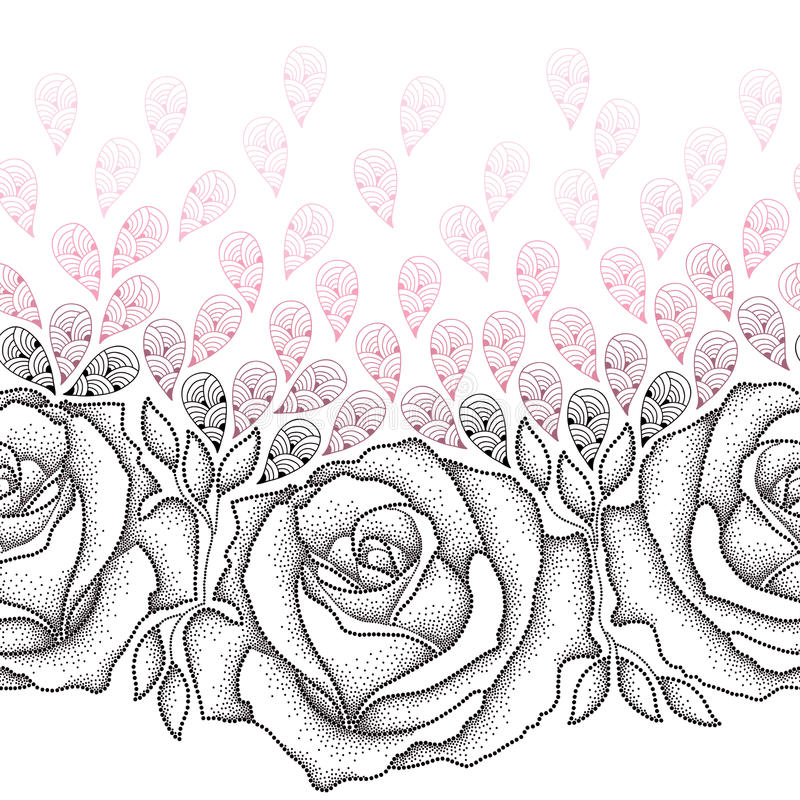 Seamless pattern with dotted black roses, leaves and stylized pink petals on the white background. stock illustration