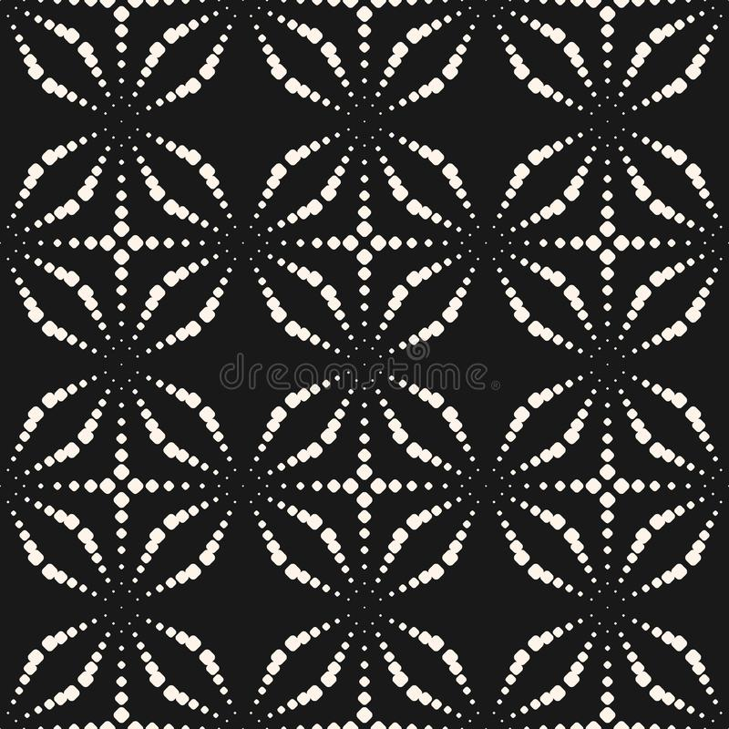 Seamless pattern with dotted shapes, sparkles, stippling, halftone crosses. royalty free illustration
