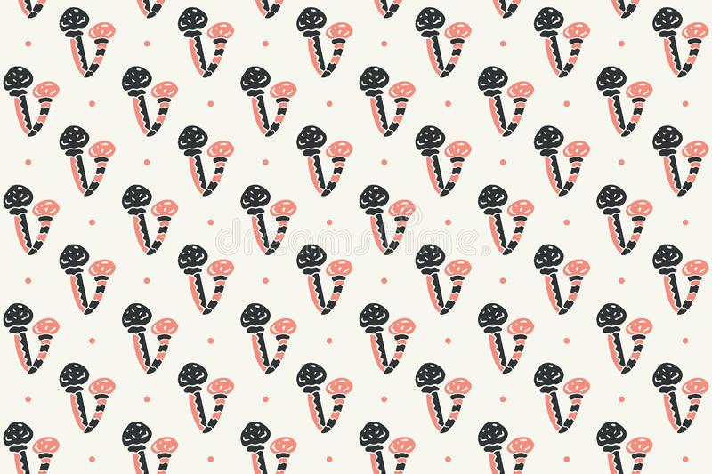 Seamless pattern. Double mushrooms and dots on a cream background. Scandinavian style. royalty free illustration