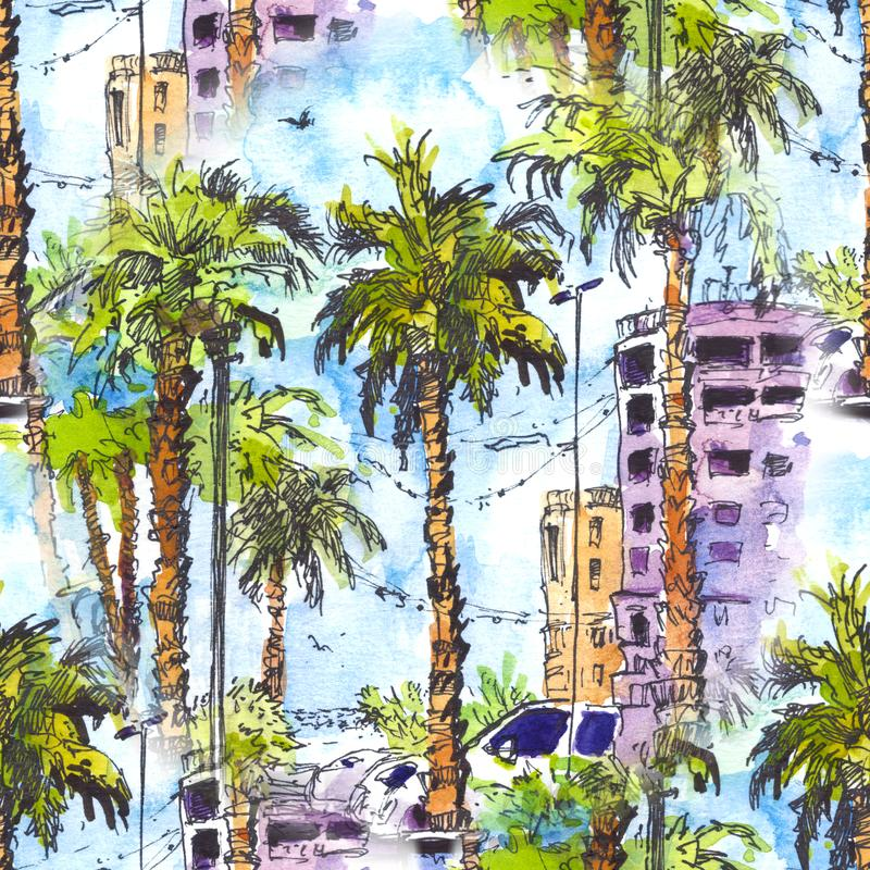 Seamless pattern. Downtown with street and buildings of Miami City in Florida, USA. Watercolor splash with hand drawn royalty free illustration