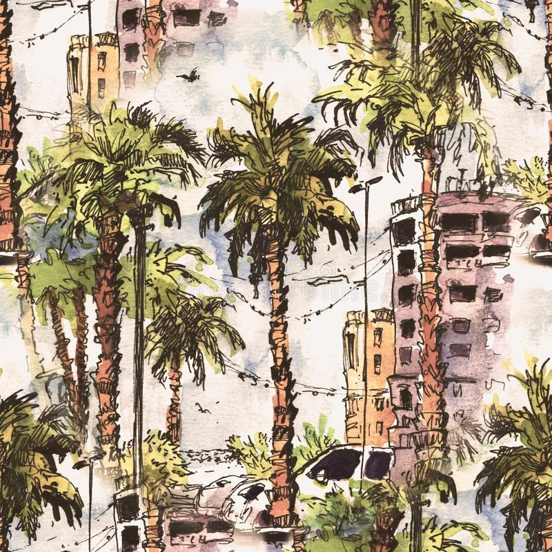 Seamless pattern. Downtown with street and buildings of Miami City in Florida, USA. Watercolor splash with hand drawn vector illustration