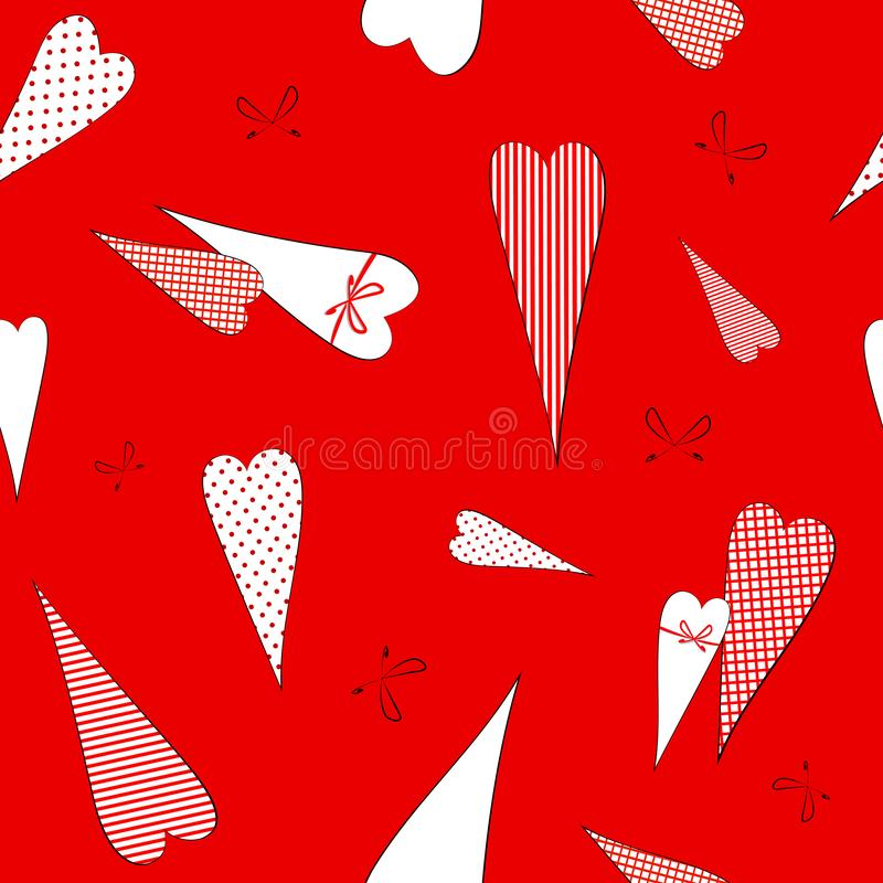 Seamless pattern with a drawing of doodles hearts in peas striped cage Decorative romantic background for Valentine`s Day wedding vector illustration