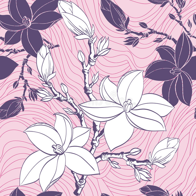 Seamless pattern with drawing magnolia flowers stock illustration