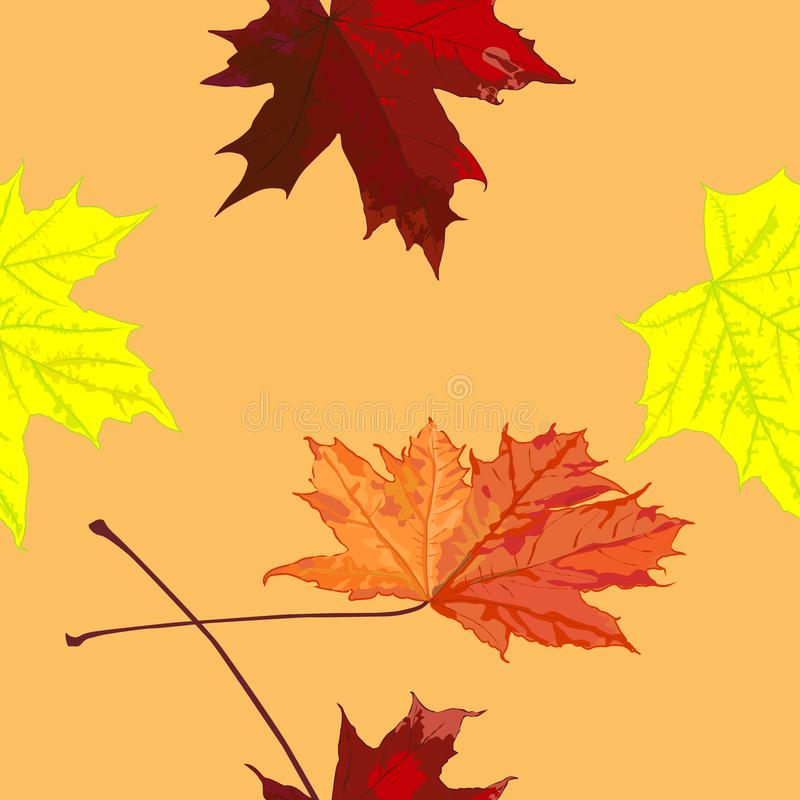 Seamless pattern, drawing of maple leaves, autumn, horizontally vertical stock photo