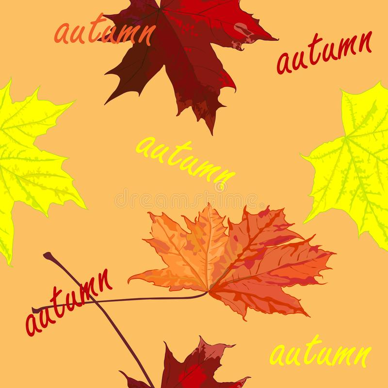Seamless pattern, drawing of maple leaves, autumn, horizontally vertical royalty free stock photo