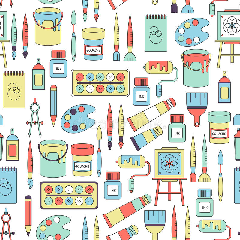 Download Seamless Pattern With Drawing And Painting Tools Stock Vector