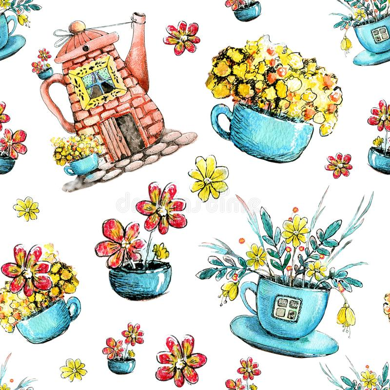 Seamless pattern, drawing watercolor with the image of the house in the kettle and cup. Design concept for tea, cafe, restaurant, stock illustration