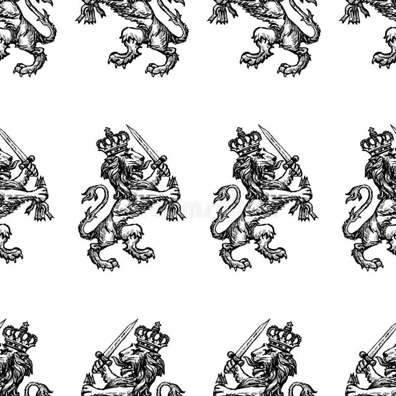 Seamless pattern of drawn heraldic royal lion with a sword royalty free illustration