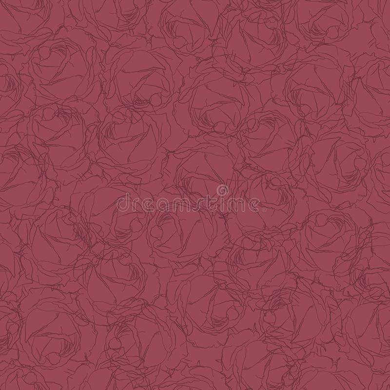 Seamless pattern in drawn roses. Floral pattern. Wallpaper of flowers drawn royalty free stock images