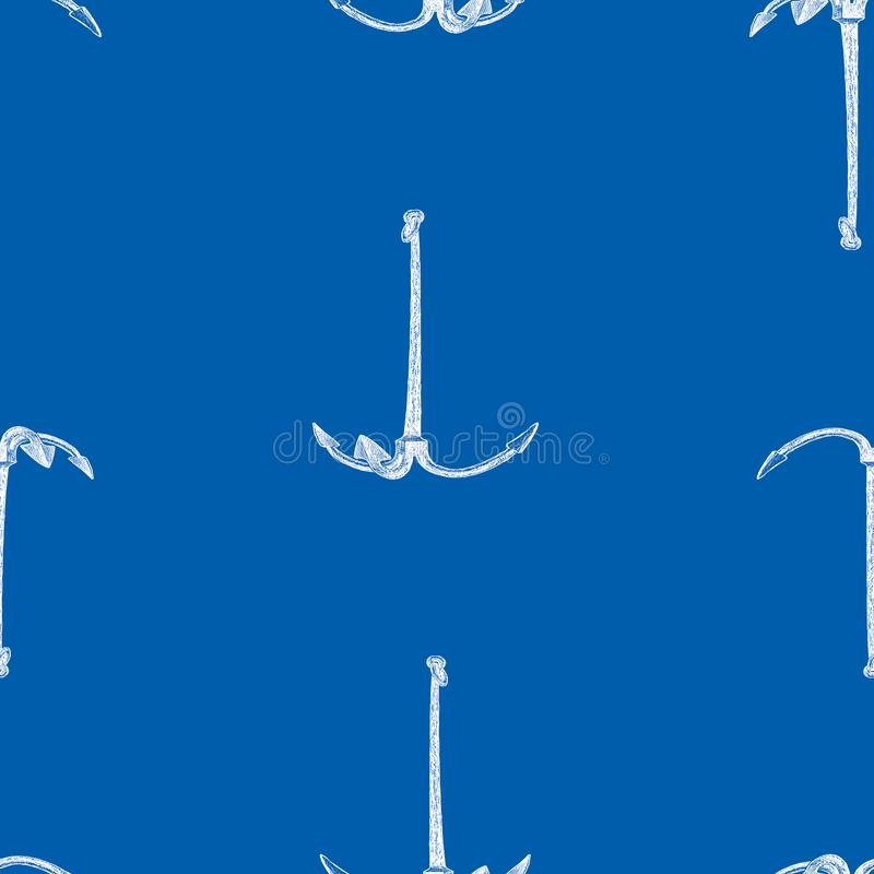 Seamless pattern of drawn sea anchors royalty free illustration
