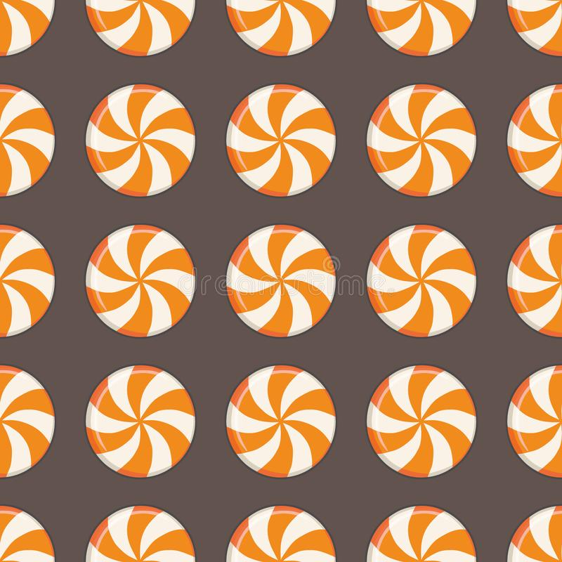 Seamless pattern with drawn traditional round halloween candy drops with orange and white swirls. Seamless pattern with cute drawn traditional round halloween royalty free illustration