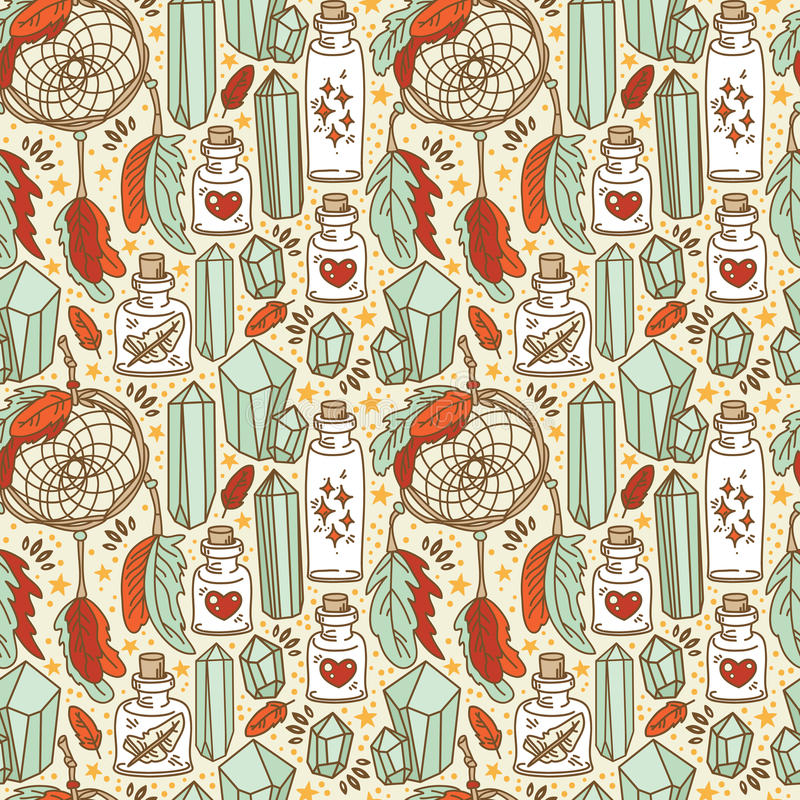Seamless pattern with dream catchers and glass flasks vector illustration