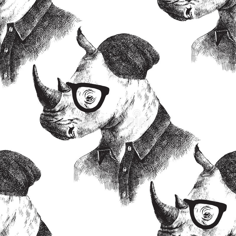 Seamless pattern with dressed up rhino. Hand drawn seamless pattern with dressed up rhino in hipster style vector illustration
