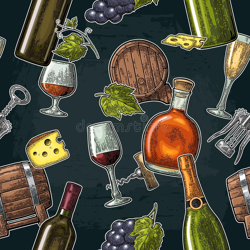 Seamless pattern drinks made from grapes. Wine, brandy, champagne bottle, glass. Barrel, cheese, bunch of grapes with berry. Vintage color engraving vector vector illustration